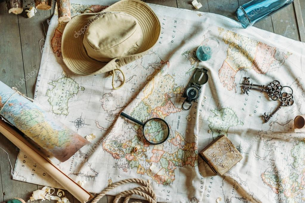 Map and traveling items