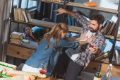 Fotografie girl fights with her boyfriend