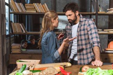 Young couple quarrel, upset girl talking to boyfriend stock vector