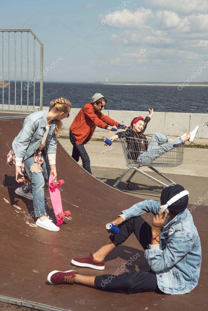 teenagers having fun