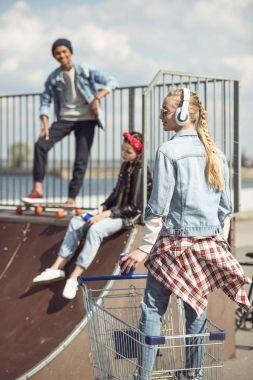 Teenagers group having fun