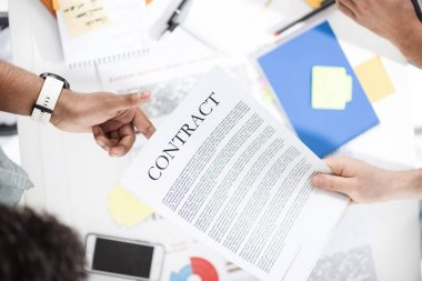 Businessmen working with contract