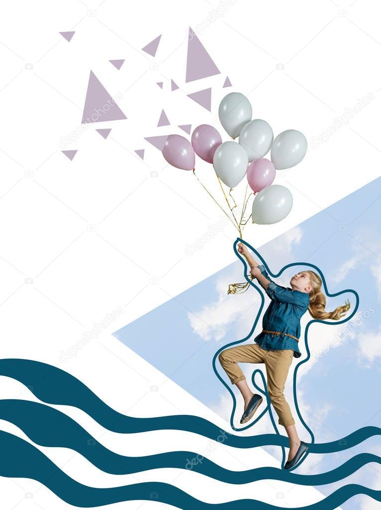 Фотообои девушка летит с воздушных шаров