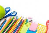 Fotografie Colorful school and office supplies