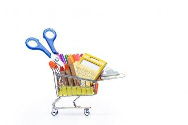 school supplies in shopping cart