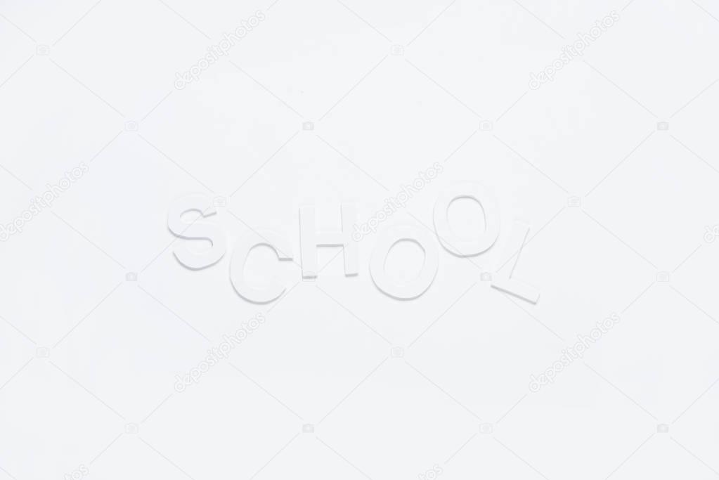 paper letters school on white