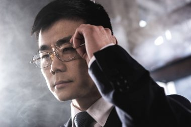 Portrait of confident asian businessman in eyeglasses looking away