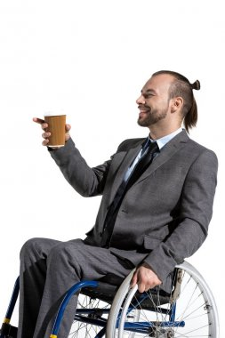 disabled businessman with coffee to go