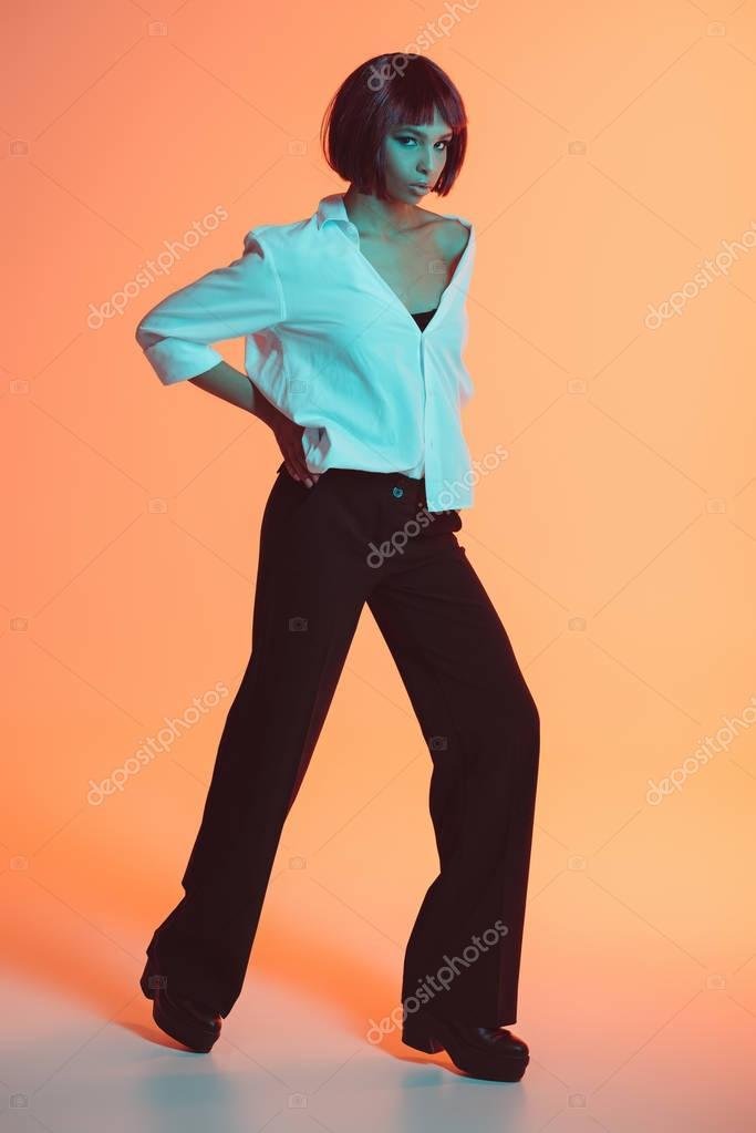 stylish african american woman posing