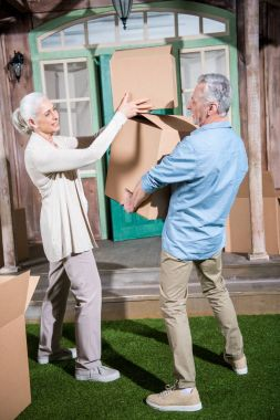Senior couple with cardboard boxes