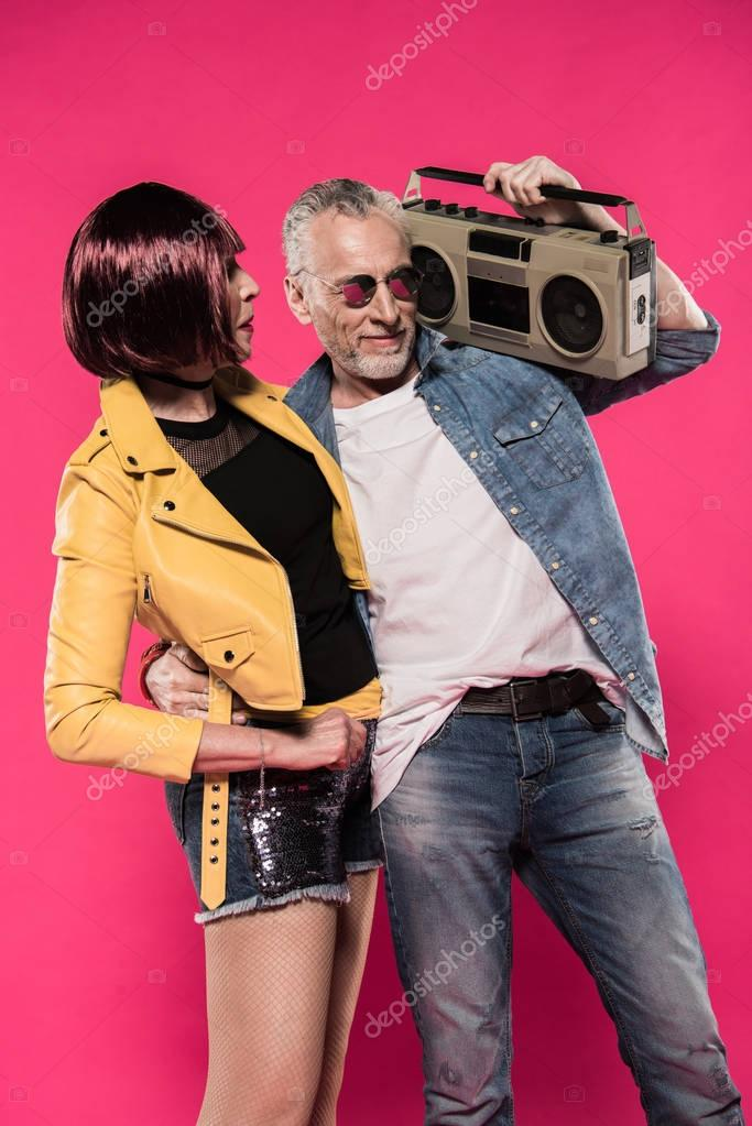 senior couple with tape recorder