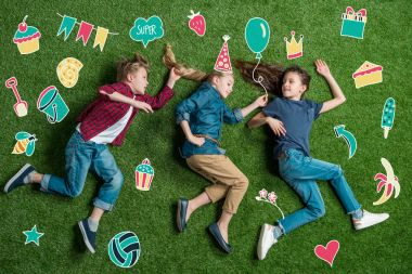 Happy three friends lying on grass, birthday concept stock vector