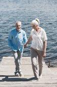 Lächelndes älteres Ehepaar am Ufer des Flusses