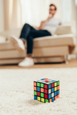Rubik cube on carpet