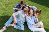 Fényképek Boldog család az amerikai zászló