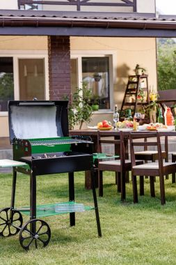 Grill on green lawn