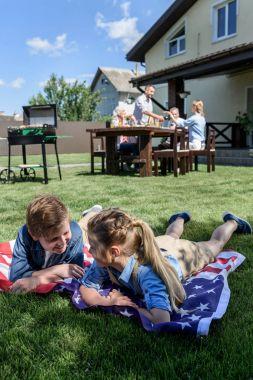 Family celebrating 4th july