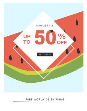 Sale banner with fifty percent off, geometric design with watermelon stock vector