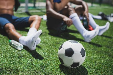 Soccer players and ball