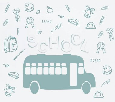 Hand drawn school bus, school lettering and various educational supplies isolated on white stock vector