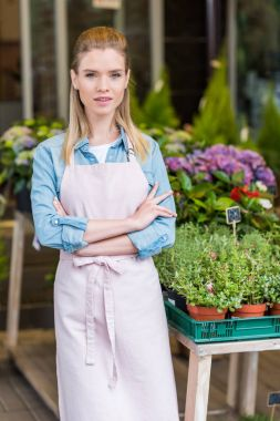 Confident young florist in apron standing with crossed arms and looking at camera stock vector