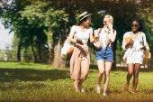 mnohonárodnostní studenti procházky v parku