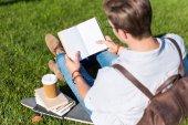 čtení kniha muž v parku
