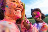 happy friends at holi festival