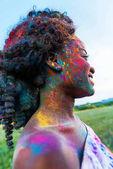 Fotografie afrikanische amerikanische Frau auf Holi festival