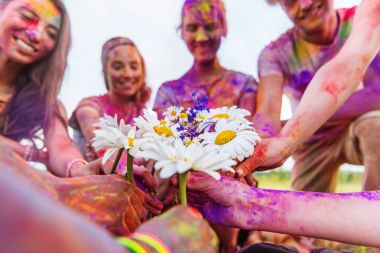 Cropped shot of young friends holding chamomiles at holi festival stock vector