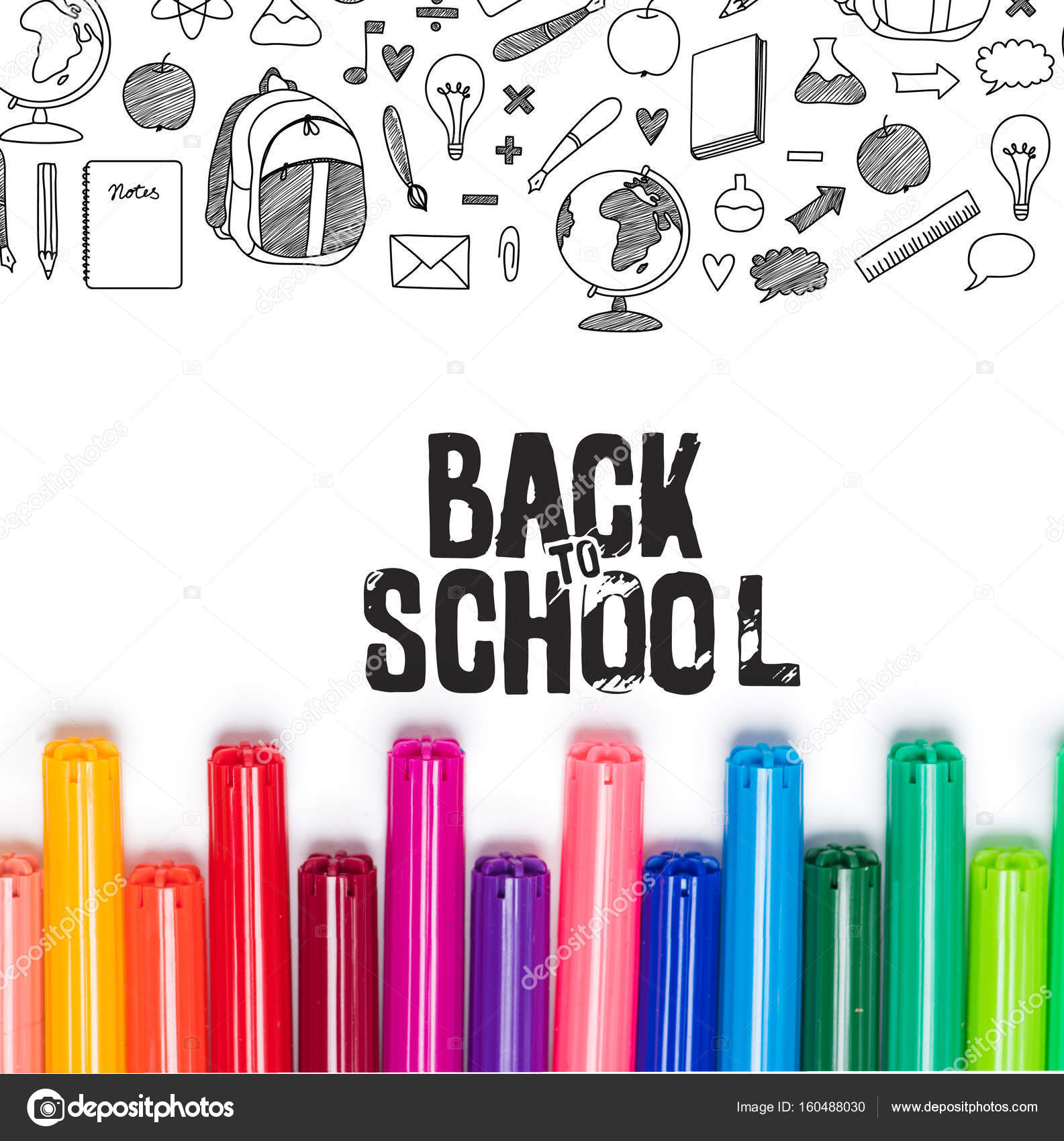 back to school lettering and markers stock photo