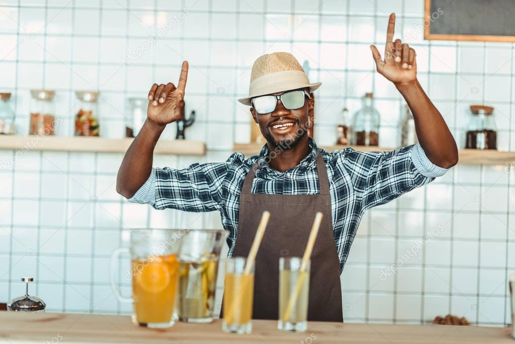 stylish african american bartender