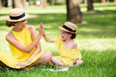 Beautiful happy mother and daughter in yellow dresses and straw hats giving high five while sitting together on grass in park stock vector