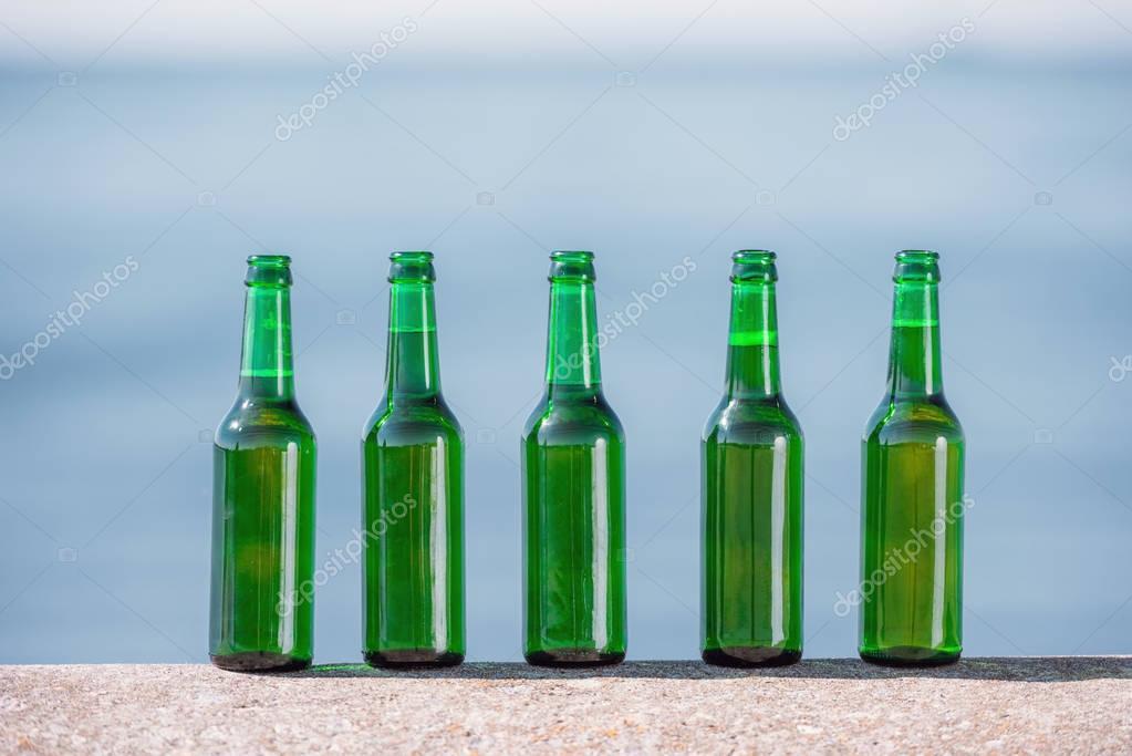 bottles of beer on parapet