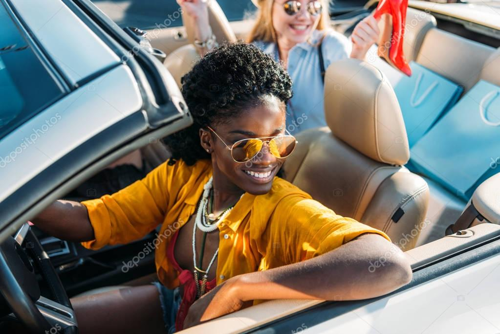 african american woman riding car
