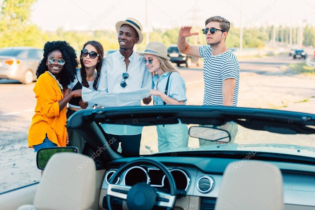 multiethnic friends determine direction