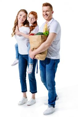 happy family with grocery bag