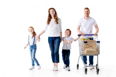 family with shopping trolley