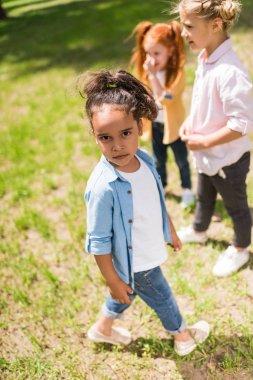 multiethnic kids in park