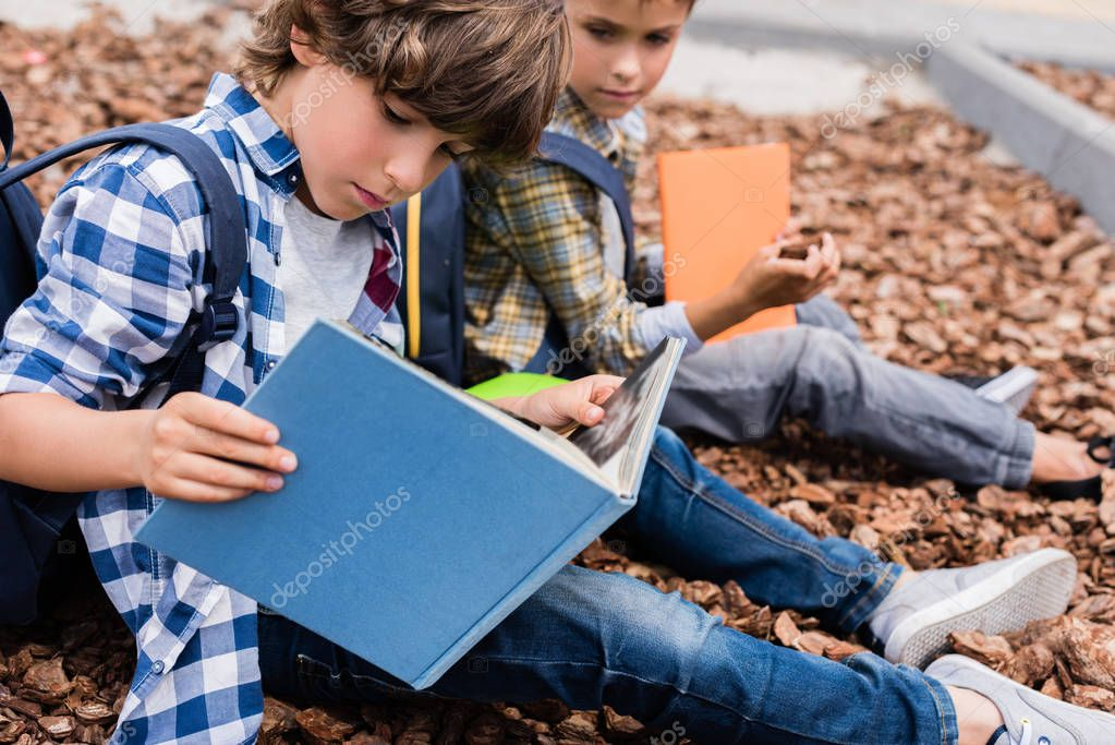 schoolboys reading books