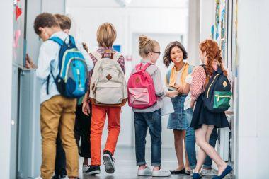 kids in school corridor