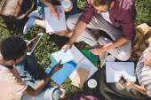 Multiethnische Studenten lernen gemeinsam