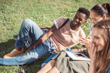 multiethnic students studying on grass