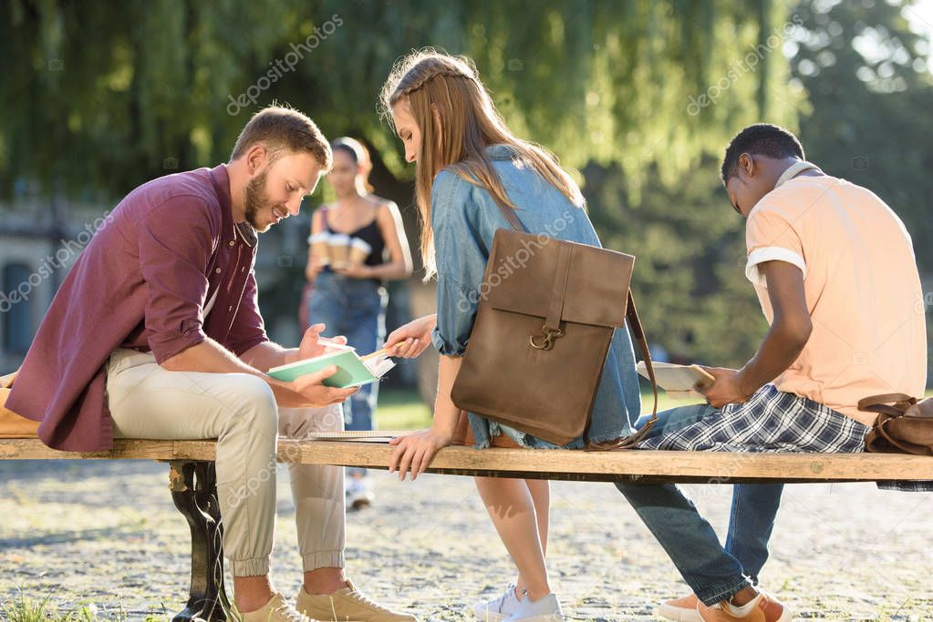 Students studying on bench in park
