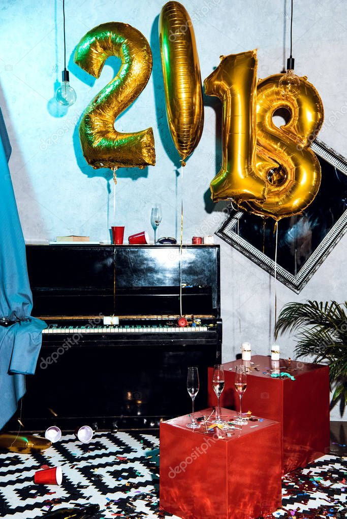 interior with new year balloons