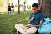 Fotografie african american boy studying in park