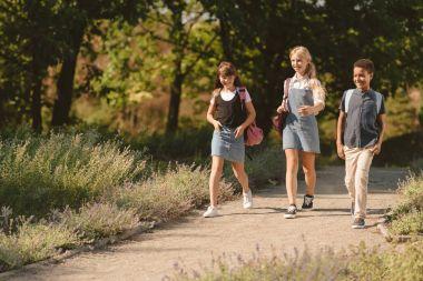 Multiethnic teens walking in park