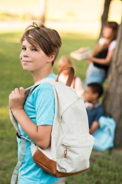 Teenage boy with backpack