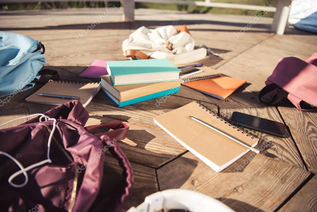 books, backpacks and electronics