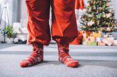 santa claus in winter socks